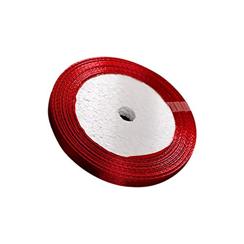 Lethez Satin Ribbons, 25 Yard/Roll,6 mm Width Rainbow Embellish Ribbon for Party,Wedding Decor, Gifts Wrap Bow (Wine Red) ()