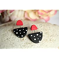 Black and red polka dot earrings, Polymer Clay Statement Earrings