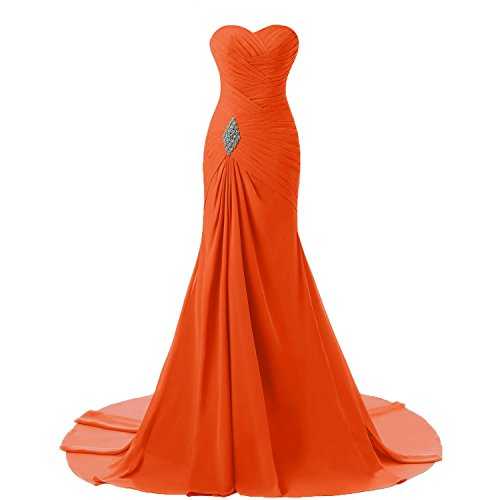 Custom Made Gowns - Criss Cross Chiffon Long Mermaid Prom Dress Evening Gowns Custom Made Burnt Orange