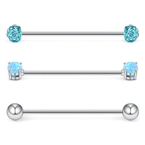 (Ruifan 3PCS 14 Gauge Blue Opal & Acid Crystal Ball & Shiny Ball Industrial Barbell Cartilage Earring Body Piercing Jewelry 1 3/8Inch (35mm))