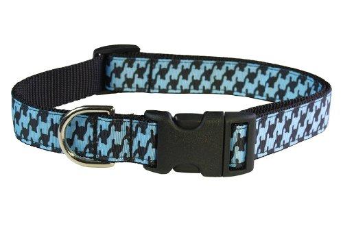 Sassy Dog Wear 13-20-Inch Blue/Black Houndstooth Dog Collar, Medium