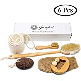6 Pcs Premium Boar Bristle Shower Brush Set - Dry Brushing Set, Facial Brush, Bath Brush with a long detachable wooden handle, Back Scrubber Belt, Pumice Stone, Bath Mitt and Wooden Roller Massager.
