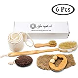 Facial Hair Removal Mitt - 6 Pcs Premium Boar Bristle Shower Brush Set - Dry Brushing Set, Facial Brush, Bath Brush with a long detachable wooden handle, Back Scrubber Belt, Pumice Stone, Bath Mitt and Wooden Roller Massager.