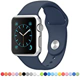 Apple Watch Band - FanTEK Soft Silicone Sport Style Replacement iWatch Strap for Apple Wrist Smart Watch 42mm Models M/L Size (Midnight Blue)