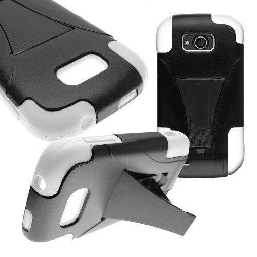 CoverON Kickstand Hard + Soft Dual Layer Hybrid Case for ZTE Reef - Black Hard White Soft Silicone