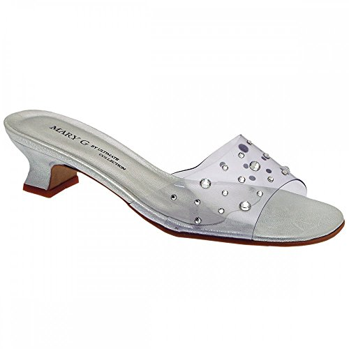 Mule On Silver Slip Collection Diamante Ultimate Low Top Perspex IwqBT6x