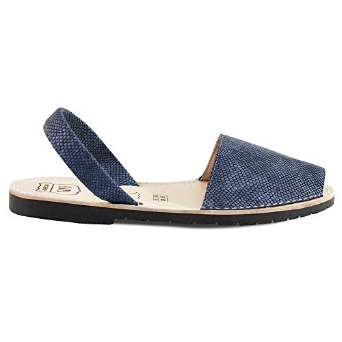 101 Leather - Avarcas Sandals for Women - Handmade in Spain with Natural Leather- Slip on/Slingback Flats (US 7 (EU 37), Blue Piton)