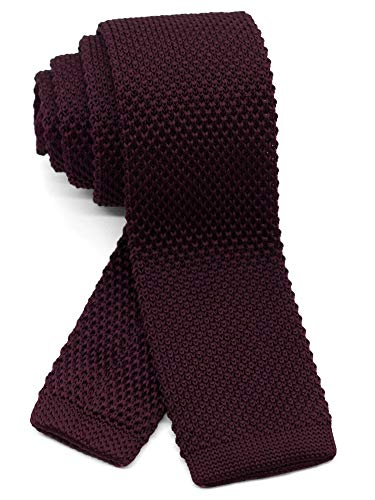 WANDM Men's Knit Tie Slim Skinny Square Necktie Width 2.2 inches Washable Solid Color Deep Maroon