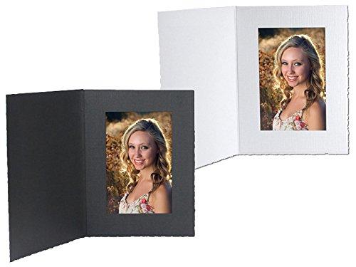 White Cardboard Portrait Photomount Folder 5x7 Frame w/plain border sold in 25s - - Portrait White Cardboard