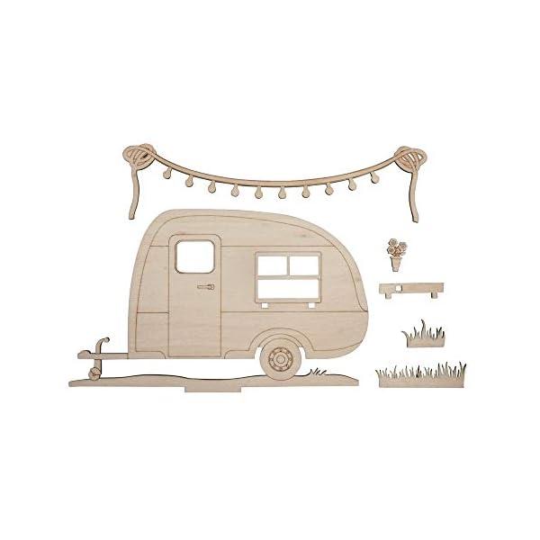 41cGF2ZYwQL Rayher 46423505 Holzmotiv Wohnwagen, FSC zertifiziert, natur, 20 x 11,5 x 0,4 cm, 6teilig, zum basteln und bemalen
