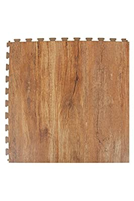 IncStores Wood Flex Multi-Purpose Hidden Interlocking PVC Floor Tiles 6 Tile Pack Covers 16.67 sqft