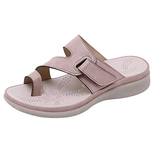 Respctful✿Child's Leather Sandals, Classic Flip-Flop & One Strap with Adjustable Buckle, Girls Summer Footbed Flats Sandals Pink
