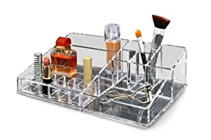 Epica Clear Cosmetic Organizer, Heavyduty, with Removable Lipstick Insert