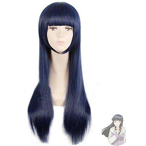 EZ2WORLD HOT! Narutos Shippuden Hinata Hyuga Blue&Black Mixed Cosplay Wig 80cm]()