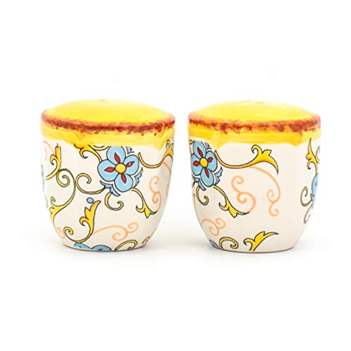(Euro Ceramica Duomo Collection Italian-Inspired Ceramic Salt & Pepper Shakers, 2 Piece set, Floral Design, Multicolor )