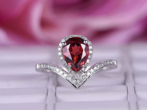 Pear Garnet Engagement Ring Pave Diamond Wedding 14k White Gold 6x8mm by the Lord of Gem Rings