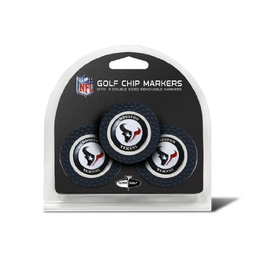 Team Golf NFL Houston Texans Golf Chip Ball Markers (3 Count), Poker Chip Size with Pop Out Smaller Double-Sided Enamel Markers