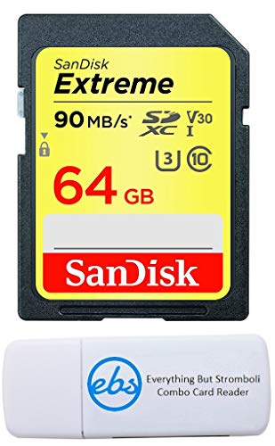SanDisk 64GB SDXC SD Extreme Memory Card Bundle Works with Canon EOS 77D, 80D, 70D, 6D, 60D Digital DSLR Camera 4K V30 U3 (SDSDXVE-064G-GNCIN) Plus (1) Everything But Stromboli (TM) Combo Card Reader