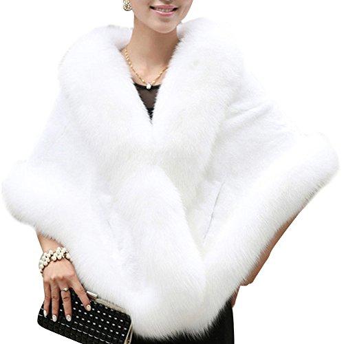 De Señoras Chal Fiesta Para Capa Piel Faux Chales Chales Estolas Wrap Mujeres Blanco Boleros qSZwfzE