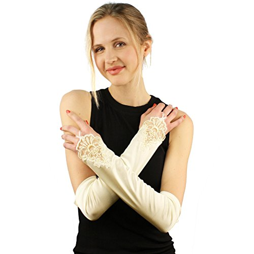 Bridal Bead Satin Finish Fingerless Hook Evening Over Elbow Dressy Gloves Ivory