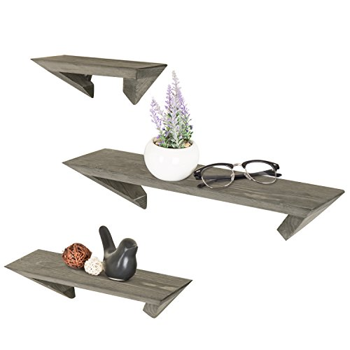 MyGift Wall-Mounted Rustic-Modern Gray Wood Floating Ledge Shelves, Set of 3