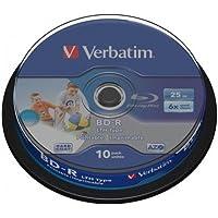 Verbatim BD-R 25GB 6X Wide White IJP 10PK Spindle