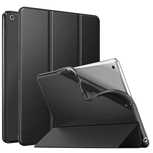 MoKo Case Fit New iPad 10.2 2019 (10.2 inch) - iPad 7th Generation 2019 Case with Stand, Soft TPU Translucent Frosted Back Cover Slim Smart Shell, Auto Wake/Sleep - Black