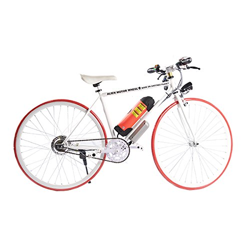 ELECTRIC Fixie Bike 350W 33MPH Alien Motor Wheels TM (WHITE/ORANGE/WHITE/ORANGE)