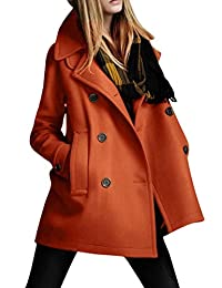 Pink Wind Women's Winter Warm Double-breasted Wool Coat Trench Coat 3 Colors