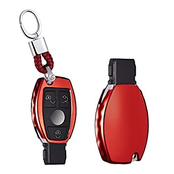 Color Rojo Brillante Silver with Key Chain Funda para Llave de Mercedes A B C CLA CLK CLS E S SLK SL Class Viano