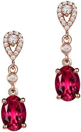 WANGJIA Rojo 14 K Oro Rosa Rubí Peridoto Pendiente Diamante Ágata Piedras Preciosas Jade Gota Granate Pendientes Mujeres