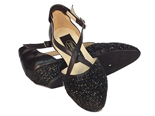 Vitiello Dance Shoes Cristal Nero Standard - Zapatillas de danza de Piel para niña Negro negro Glitter Nero