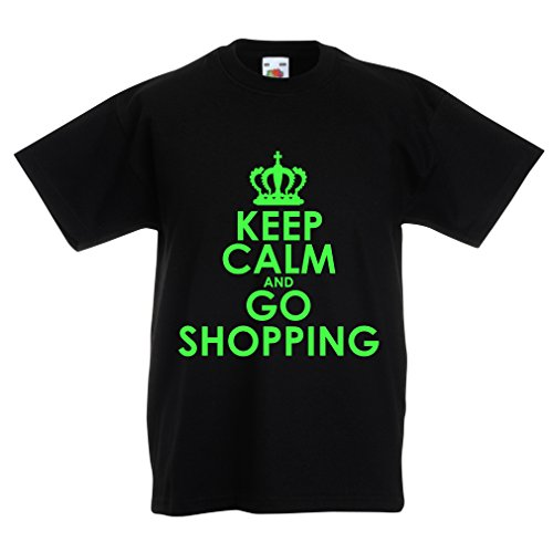 lepni.me Kids T-Shirt Keep Calm and Go Shopping! Funny Grocery Bag Lifestyle Outfits (3-4 Years Black Green)