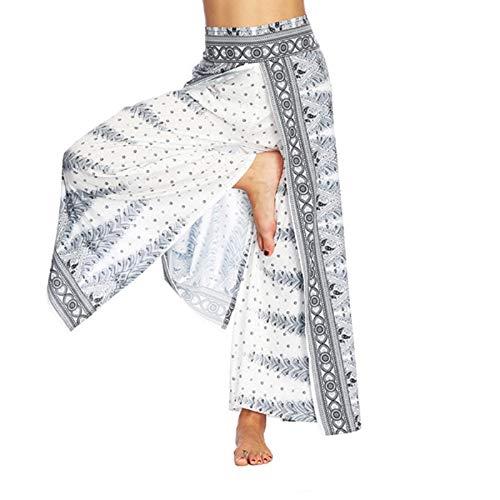 Womens High Waist Side Slit Lace Up Wide Leg Lace Panel Long Palazzo Pants Plus Size Flare Pants Trousers White