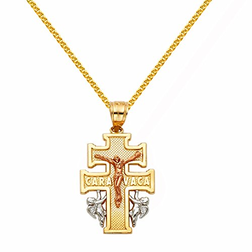 Precious Stars 14l Tri-Tone Caravaca Cross Pendant 1.5-mm Flat Wheat Chain ()