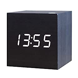 Zeekoo Wooden LED Digital Alarm Clock, Displays Time Date Temperature, Cube USB/3AAA Battery Powered Sound Control Desk Alarm Clock Kid, Home, Office, Daily Life, Heavy Sleepers (Black)