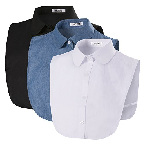 (ANZERMIX Women's Peterpan Detachable Fake Collars Half Shirt Blouse Dickie Pack of 3)