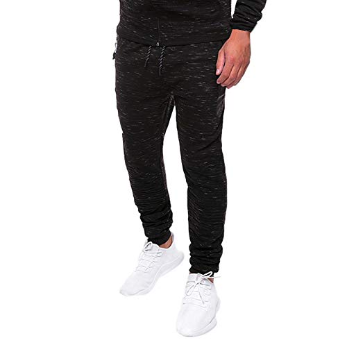 ALIKEEY Hombre Speckle Pocket Monos Casual Pocket Sport Work Casual es Negro