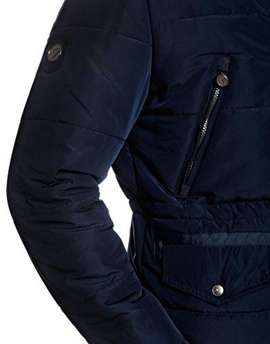 Azul Vincenzo imitación Invierno Cuello con Abrigo Boretti Piel Desmontable levantado de oscuro de cPpTqrSxPn