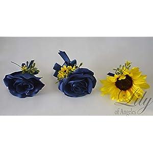 Wedding Bouquet, Bridal Bouquet, Bridesmaid Bouquet, Silk Flower Bouquet, Wedding Flower, Yellow, Sunflower, mini Sunflower, navy blue, blue, dark blue, navy, burlap, rustic, greenery, Lily of Angeles 3