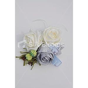Pretty Ivory & Cornflower Blue Rose Corsage w/ Light Blue Ribbon 109