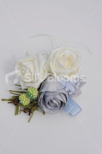 Pretty Ivory U0026 Cornflower Blue Rose Corsage W/ Light Blue Ribbon