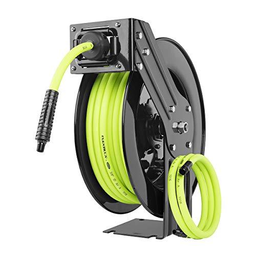 (Flexzilla Open Face Retractable Air Hose Reel, 3/8 in. x 50 ft., Heavy Duty, Lightweight, Hybrid, ZillaGreen -)