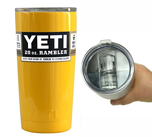 YETI Coolers 20 oz Custom Powder Coated Rambler Tumbler Cup Mug with Extra Spill Proof Lid - Keeps your 20oz drink cold or hot for hours (Yellow)