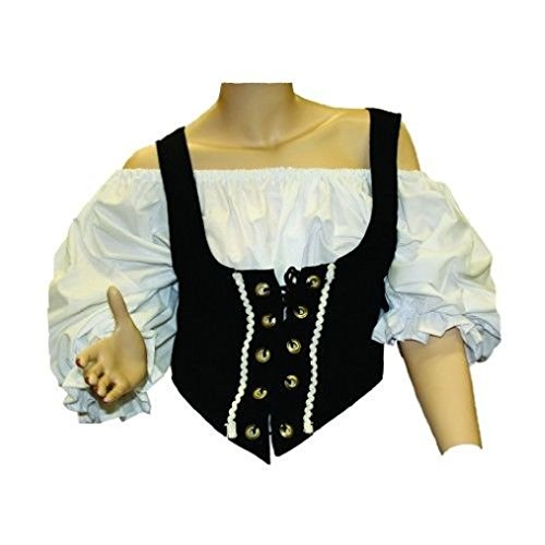 Rock The Ship Pirate Adult Costumes (OvedcRay Black Brown Adult Woman Renaissance Pirate Medieval Bodice Lace Up Costume Vest)