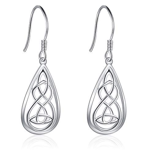Jewelry Heart Drop Earrings (Celtic Earrings Sterling Jewelry Silver Good Luck Irish Celtic Knot Heart Dangle Drop Earrings for Mother's Day Jewelry (Celtic knot heart dangle earrings))