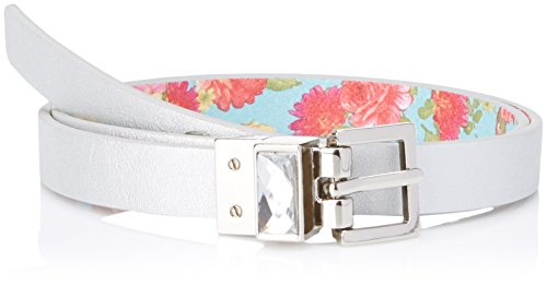 Betsey Johnson Women's Floral Reversible Pant Belt, Mint Floral/Silver, Large