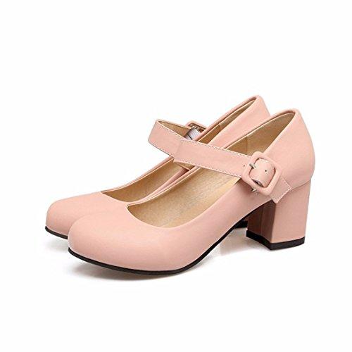 Grandes Zapatos Tallas Grande Redondo de Tacón Talón Tacón Zapatos Zapatos Pink de de 6wxPFR8