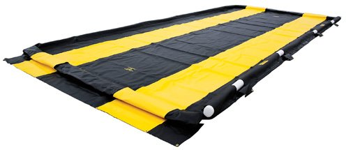 Justrite Manufacturing Company LLC 28578 - QuickBerm Collapsible Berm - PVC coated fabric, Black, 128 in Wide, 252 in Long by Justrite Manufacturing Company LLC