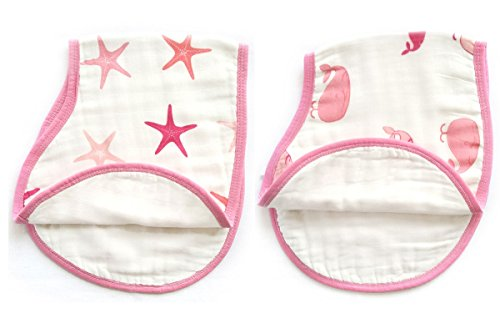 LAT 2 pack reversible cotton muslin burp cloths, Super Absorbent burpy bibs (Pink)